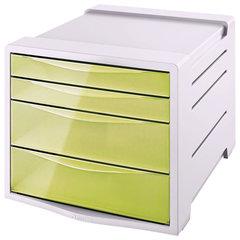 "Блок из 4 закрытых лотков для бумаги, настольный, ESSELTE ""Colour'Ice"", 285х245х365 мм, желтый"
