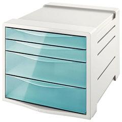 """Блок из 4 закрытых лотков для бумаги, настольный, ESSELTE """"Colour'Ice"""", 285х245х365 мм, голубой"""