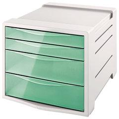 "Блок из 4 закрытых лотков для бумаги, настольный, ESSELTE ""Colour'Ice"", 285х245х365 мм, зеленый"