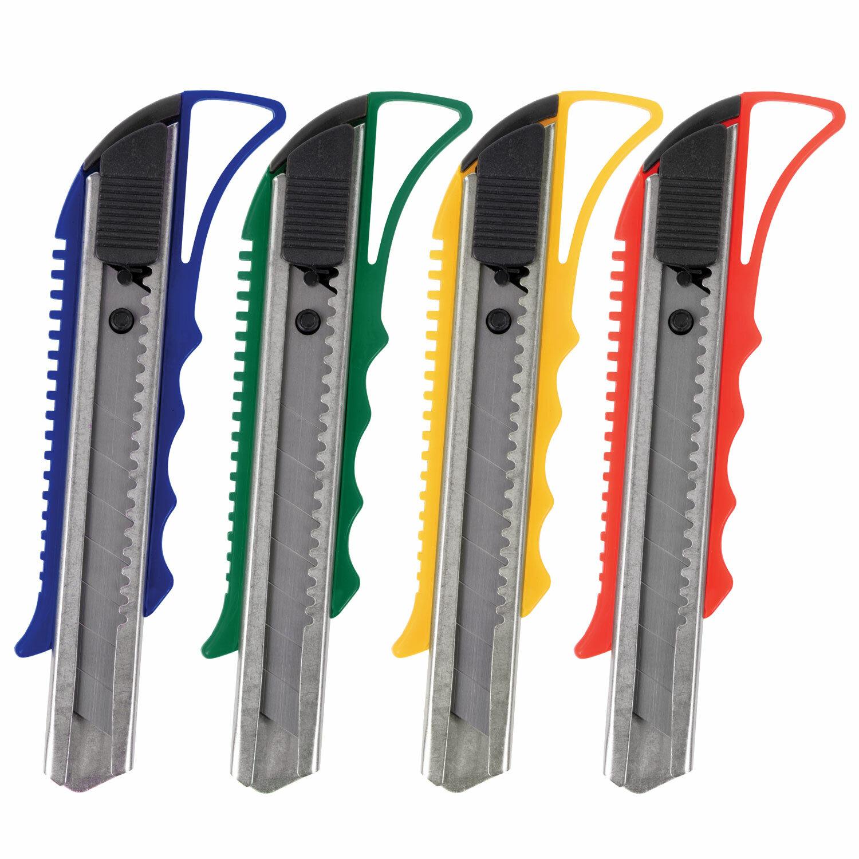 """Нож канцелярский 18 мм STAFF """"PRO"""", усиленный, металлические направляющие, автофиксатор, ассорти, 237083"""