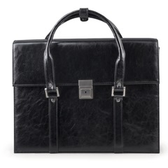 Портфель-сумка женский из кожзама, на замке, 360х270х100 мм, черный