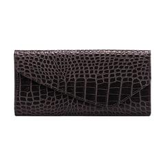 """Портмоне женское FABULA """"Croco Nile"""", 205х105 мм, натуральная кожа, кнопка, крокодил, черное"""