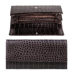 """Портмоне женское FABULA """"Croco Nile"""", 200х95 мм, натуральная кожа, кнопка, крокодил, черное"""
