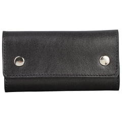"""Футляр для ключей FABULA """"Estet"""", натуральная кожа, на кнопках, 60x110x25 мм, черный"""