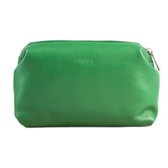 "Косметичка женская FABULA ""Every day"", натуральная кожа, молния, 210х80х115 мм, зеленая"