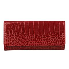 """Портмоне женское FABULA """"Croco Nile"""", 217х105 мм, натуральная кожа, кнопка, красное"""