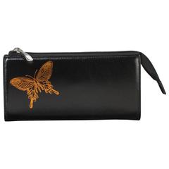 """Портмоне женское BEFLER """"Бабочка"""", натуральная кожа, молния, тиснение, 190х105 мм, черное"""