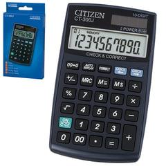 Калькулятор CITIZEN настольный CT-300J, 10 разрядов, двойное питание, 120x72 мм
