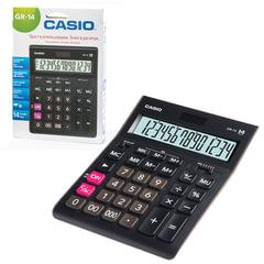 Калькулятор настольный CASIO GR-14-W (209х155 мм), 14 разрядов, двойное питание, европодвес, черный