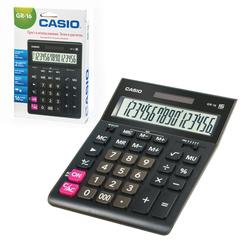 Калькулятор настольный CASIO GR-16-W (209х155 мм), 16 разрядов, двойное питание, европодвес, черный