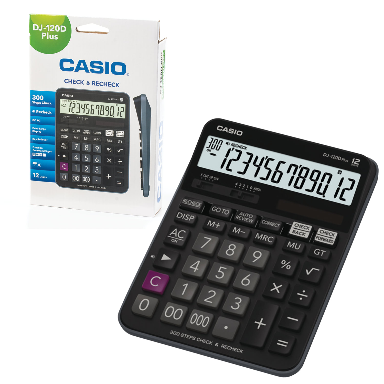 Калькулятор CASIO настольный DJ-120DPLUS-W, 12 разрядов, двойное питание, 192х144 мм, европодвес, черный