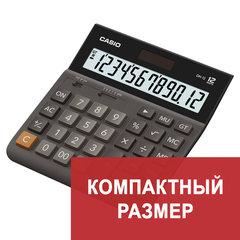 Калькулятор настольный CASIO DH-12-BK-S, КОМПАКТНЫЙ (159х151 мм), 12 разрядов, двойное питание, черный/серый