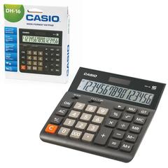 Калькулятор CASIO настольный DH-16-BK-S, 16 разрядов, двойное питание, 159х151 мм, европодвес, черный/серый