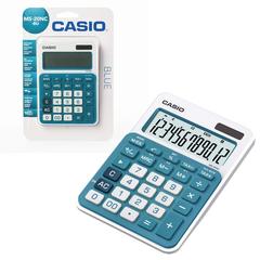 Калькулятор CASIO настольный MS-20NC-BU-S, 12 разрядов, двойное питание, 150х105 мм, блистер, белый/голубой