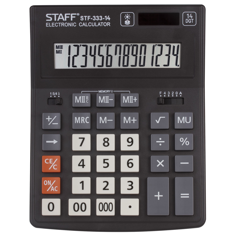 Калькулятор настольный STAFF PLUS STF-333 (200x154 мм), 14 разрядов, двойное питание