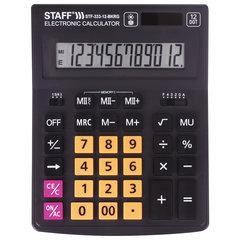 """Калькулятор STAFF """"PLUS"""" настольный STF-333-BKRG, 12 разрядов, 200x154 мм, ЧЕРНО-ОРАНЖЕВЫЙ, 250460"""