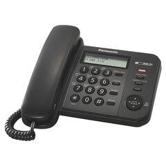 Телефон PANASONIC KX-TS2356RUB, черный, память 50 номеров, АОН, ЖК-дисплей с часами, тональный/импульсный режим