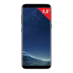 "Смартфон SAMSUNG Galaxy S8, 2 SIM, 5,8"", 4G (LTE), 8/12 Мп, 64 ГБ, microSD, ""черный бриллиант"", металл/стекло"