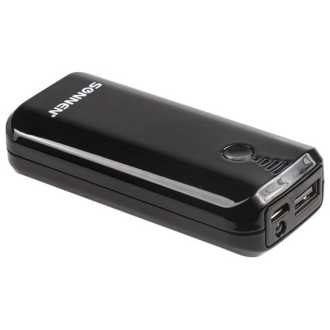 Аккумулятор внешний SONNEN POWERBANK V218, 5000 mAh, литий-ионный, черный