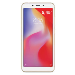 "Смартфон XIAOMI Redmi 6A, 2 SIM, 5,45"", 4G (LTE), 5/13 Мп, 16 Гб, microSD, золотой, пластик"