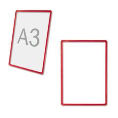 Рамка POS для ценников, рекламы и объявлений А3, красная, без защитного экрана