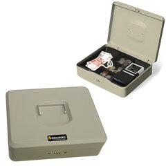 """Ящик для денег, ценностей, документов, печатей BRAUBERG, 90х240х300 мм, кодовый замок, светло-серый """"металлик"""""""
