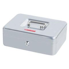 Ящик для денег, ценностей, документов, печатей, 90х180х250 мм, ключевой замок, серебристый, BRAUBERG