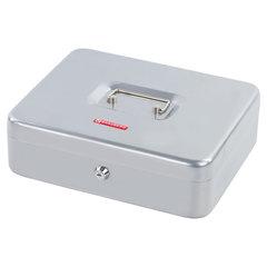 Ящик для денег, ценностей, документов, печатей, 90х240х300 мм, ключевой замок, серебристый, BRAUBERG