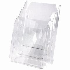 Подставка настольная для рекламных материалов (250х215х32 мм) А4, 3 отделения, смещение, STAFF, 291174