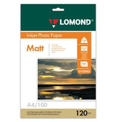 Фотобумага LOMOND для струйной печати, А4, 120 г/м2, 100 л., односторонняя, матовая, 0102003