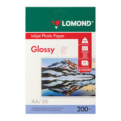 Фотобумага для струйной печати, А4, 200 г/м2, 50 листов, односторонняя глянцевая, LOMOND, 0102020