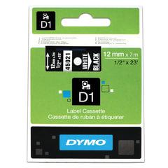 Картридж для принтеров этикеток DYMO D1, 12 мм х 7 м, лента пластиковая, белый шрифт, черный фон