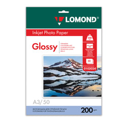 Фотобумага LOMOND для струйной печати, А3, 200 г/м2, 50 л., односторонняя, глянцевая, 0102024
