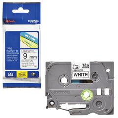 Картридж для принтеров этикеток BROTHER TZE221, 9 мм х 8 м, чёрный шрифт, белый фон, ламинированная