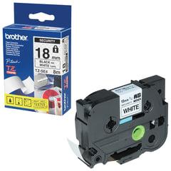Картридж для принтеров этикеток BROTHER TZE-SE4, 18 мм х 8 м, чёрный шрифт, белый фон, ламинирование, пломбировка