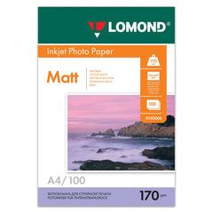 Фотобумага LOMOND для струйной печати, A4, 170 г/м2, 100 л., двухсторонняя, матовая, 0102006