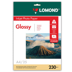 Фотобумага LOMOND для струйной печати, А4, 230 г/м2, 25 л., односторонняя, глянцевая, 0102049