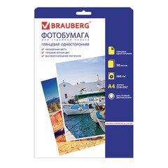 Фотобумага для струйной печати, А4, 260 г/м2, 50 листов, односторонняя глянцевая, BRAUBERG