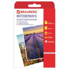 Фотобумага для струйной печати, А4, 260 г/м2, 50 листов, односторонняя матовая, BRAUBERG