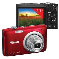 """Фотоаппарат компактный NIKON CoolPix А100, 20,1 Мп, 5x zoom, 2,7"""" ЖК-монитор, HD, красный"""