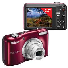 """Фотоаппарат компактный NIKON CoolPix А10, 16,1 Мп, 5х zoom, 2,7"""" ЖК-монитор, HD, красный"""