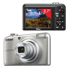 "Фотоаппарат компактный NIKON CoolPix А10, 16,1 Мп, 5х zoom, 2,7"" ЖК-монитор, HD, серебристый"