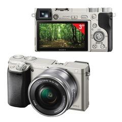 """Фотоаппарат системный SONY ILCE A6000LS, 16-50 мм, 24,3 Мп, 3"""" ЖК-монитор поворотный, Wi-Fi, NFC, серебристый"""