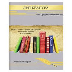 Тетрадь предметная СЕРЕБРО 48 л., фактурное тиснение, ЛИТЕРАТУРА, линия, Проф-Пресс