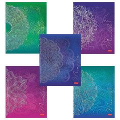 """Тетрадь, А5, 48 л., HATBER, скоба, клетка, 3D фольга, """"Mandala"""" (5 видов в спайке), 48Т5лофВ1"""