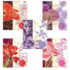 """Тетрадь А5, 48 л., HATBER, скоба, клетка, 3D фольга, """"Painted Flowers"""" (5 видов в спайке), 48Т5лофВ1"""