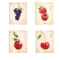 """Тетрадь А5, 80 л., HATBER ECO, спираль, клетка, обложка картон, """"Fruit Style"""" (4 вида), 80Т5C1сп"""