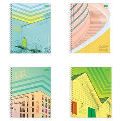 """Тетрадь А5, 96 л., HATBER ECO, спираль, клетка, обложка картон, """"Urban"""" (4 вида), 96Т5C1сп"""
