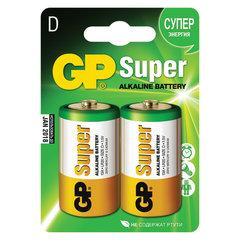 Батарейки GP Super, D (LR20, 13 А), алкалиновые, комплект 2 шт., в блистере