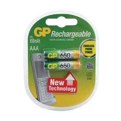 Батарейки аккумуляторные GP, AAA, Ni-Mh, 650 mAh, комплект 2 шт., в блистере